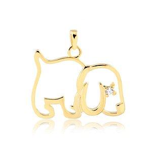 Pingente cachorro vazado com zircônia no olho folheado em ouro 18k