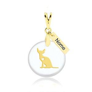 Pingente acrílico gato raça  Sphynx personalizado folheado em ouro 18k