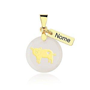 Pingente madrepérola Pig Mom nome personalizado folheado em ouro 18k