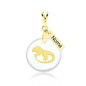 Pingente acrílico Iguana nome personalizado folheado em ouro 18k
