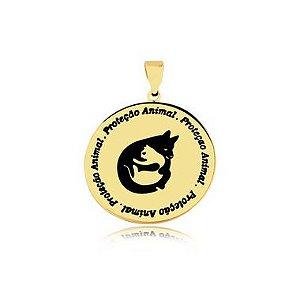 Pingente Proteção Animal logo pet e escrita folheado em ouro 18k