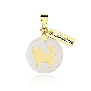Pingente madrepérola Chihuahua pelo longo folheado em ouro 18k
