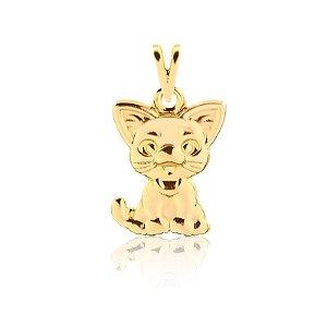 Pingente gatinho folheado em ouro 18k