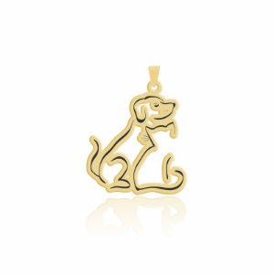 Pingente de cachorro e gato corpinho folheado em ouro 18k