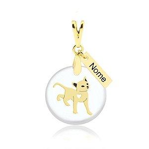 Pingente acrílico gato com plaquinha de nome personalizada folheado em ouro 18k