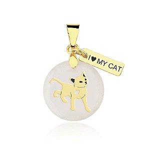 Pingente madrepérola gato, I love my cat folheado em ouro 18k