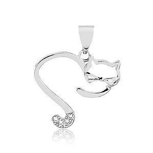 Pingente coração aberto de gato folheado em prata 925