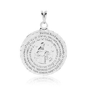 Pingente medalha de São Francisco com oração em prata 925