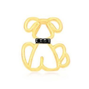 Pingente de cachorro com coleira em zircônias pretas folheado em ouro 18k