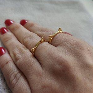 Anel falange orelhinha de gato folheado em ouro 18K