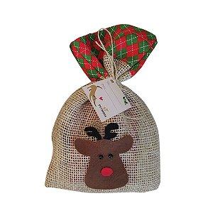 Embalagem natalina de juta pata ou rena