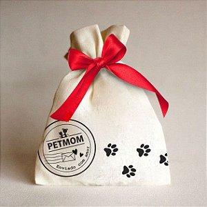 Embalagem natalina de algodão crú com laço personalizado PetMom
