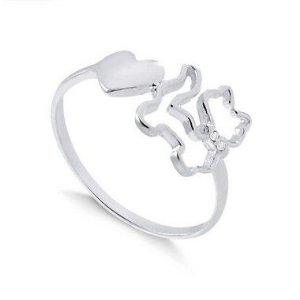 Anel gato com pedras de zircônia na coleira e coração em prata