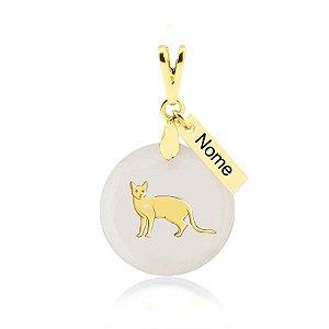 Pingente madrepérola raça Bengal (Gato de Bengala)nome personalizado folheado em ouro 18k