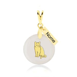 Pingente madrepérola de gato da raça British Shorthair nome personalizado folheado em ouro 18k