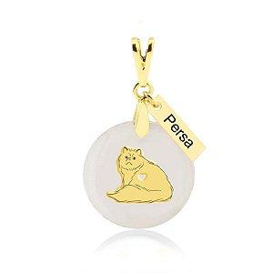 Pingente madrepérola raça de gato Persa folheado em ouro 18k