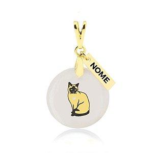 Pingente madrepérola raça gato Siamês nome personalizado folheado em ouro 18k