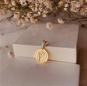 Pingente medalha Medicina Veterinária folheado em ouro 18K