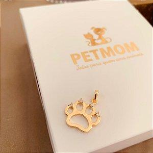 Pingente patinha de Gato folheado em ouro 18K