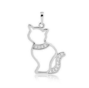 Pingente de gato com coleira em prata 925