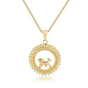 Colar mandala de Cavalo folheada em ouro 18K