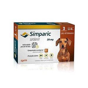 Simparic cães de 5,1 kg a 10,0 kg 20 mg, comprimido mastigável (3 un)