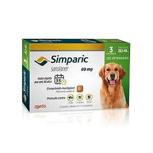 Simparic cães de 20,1 kg a 40,0 kg 80 mg, comprimido mastigável (3 un)
