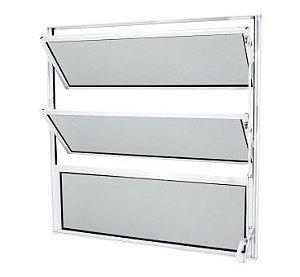 Vitrô Basculante Alumínio 80x60 Branco Classic  Vidro Liso