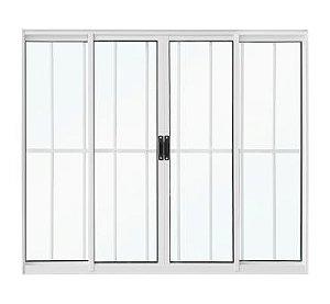 Vitro Alumínio 120x100  4 Folhas Smart Branco Vidro Liso Com Grade
