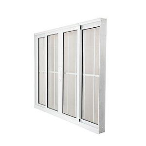 Vitro Alumínio 150x100 4 folhas Nobre Branco Vidro Liso Com Grade