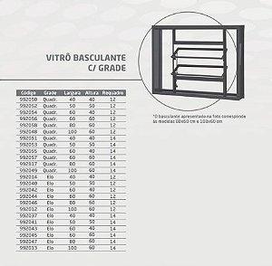 Vitro Basculante Aço CRV 60x40  Requadro 12 cm