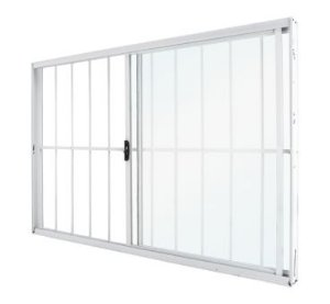 Vitro Alumínio 150x100 2 folhas Classic Branco Vidro Liso Com Grade