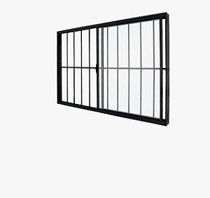 Vitro Alumínio 150x100 2 folhas Modular Black com Grade