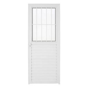 Porta Aluminio Malta com Postigo L25 210x80 cm Direita Branca com Vidro Boreal