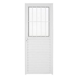 Porta Aluminio Malta com Postigo L25 210x80 cm Esquerda Branca com Vidro Boreal
