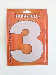 Número Branco 3 Adesivado - Numeral