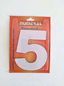 Número Branco 5 Adesivado - Numeral