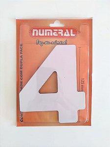 Número Branco 4 Adesivado - Numeral