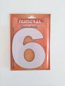 Número Branco 6  Adesivado - Numeral