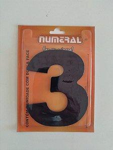 Número Preto 3  Adesivado- Numeral