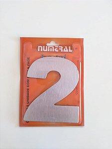 Número Aço Escovado 2  Adesivado - Numeral