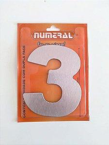 Número Aço Escovado 3 Adesivado  - Numeral