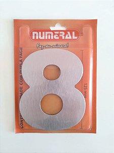 Número Aço Escovado 8 Adesivado - Numeral