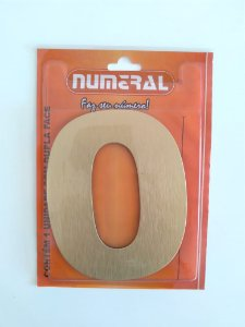 Número Dourado Escovado 0  Adesivado - Numeral