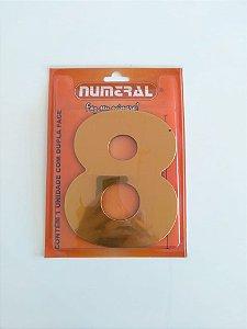 Número Dourado 8  Adesivado - Numeral
