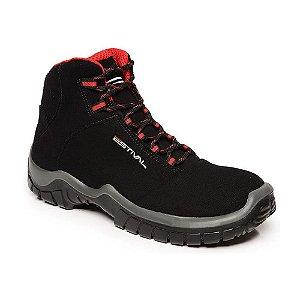 Sapato de Segurança Em Microfibra Preto e Vermelho Estival Tamanho 44-  Ca