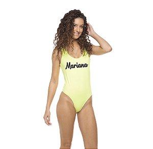 Body Maiô Neon Amarelo Personalizado