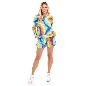 Conjunto Moletinho com Capuz + Shorts Tie Dye Espiral - Silvia Schaefer