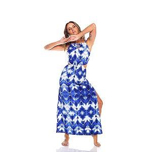 Vestido longo Tie Dye Azul  - Silvia Schaefer