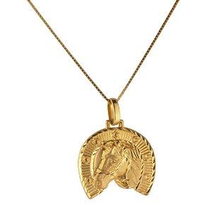 Pingente ferradura com cavalo em ouro amarelo 18k PC 2.24